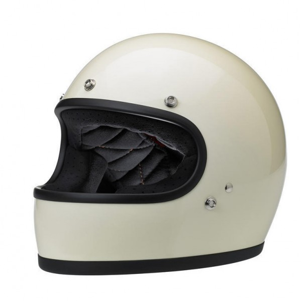 70er Jahre-Vintage-Stil  M Schwarz gl/änzend schwarz Integralhelm Biltwell Gringo S