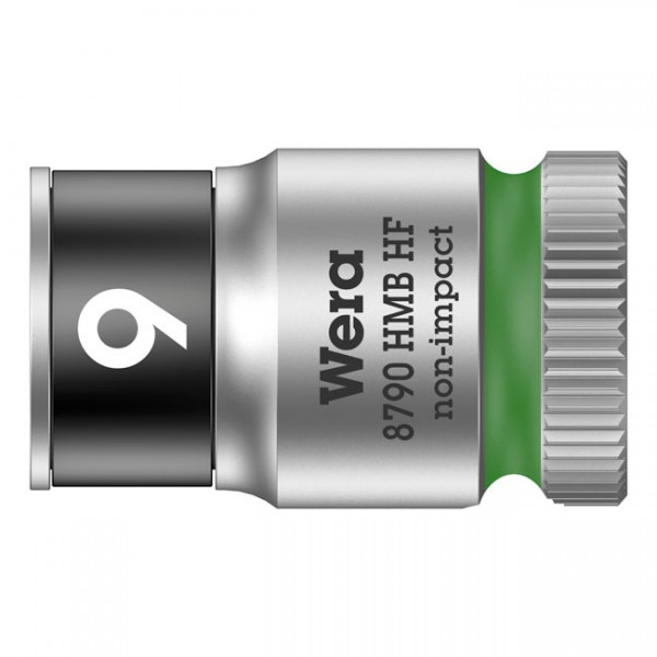 """WERA Tools - """"Zyklop 3/8"""" socket with holding function - Metric 9.0"""" - Hex bolts and nuts"""