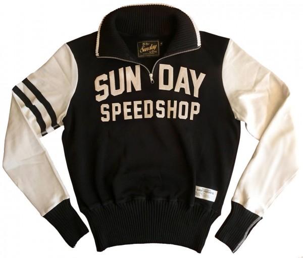 "SUNDAY SPEEDSHOP Sweatshirt - ""Sunday & Sons 1950's Motorcycle"" - black & beige"