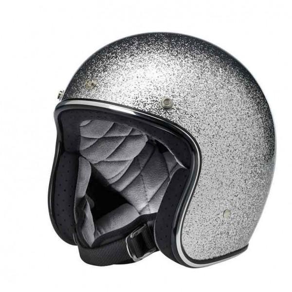 Biltwell Bonanza Open Face Motorcycle Helmet Brite Silver DOT