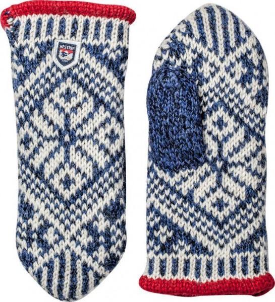 "HESTRA Handschuhe - ""Nordic Wool Mitt"" - blau & weiß"