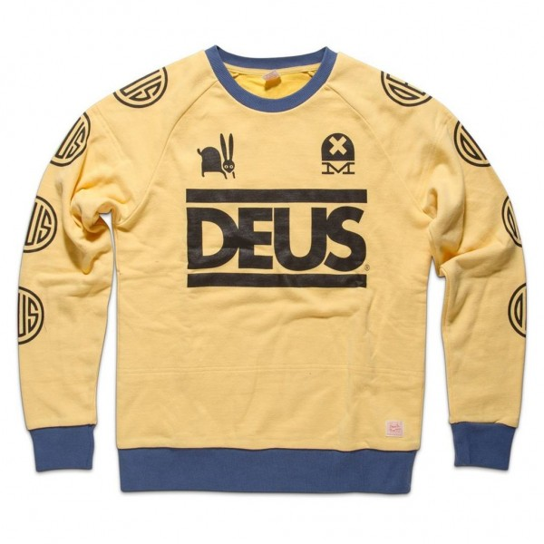 "DEUS EX MACHINA Sweatshirt - ""Travis Crew"" - gelb & blau"
