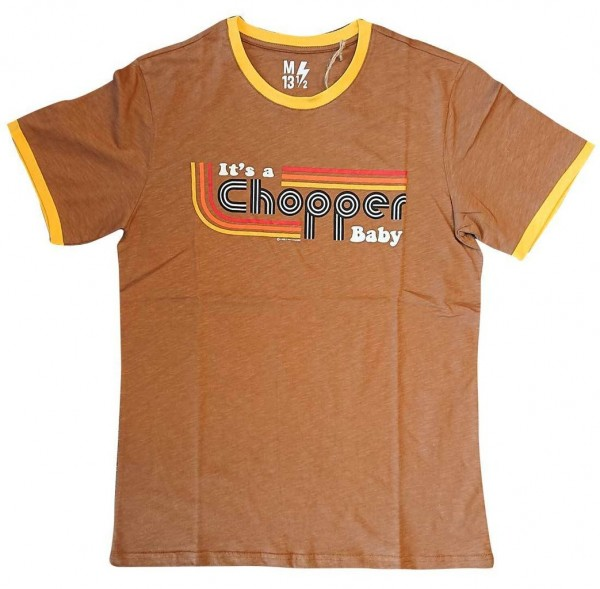 "13 1/2 MAGAZINE T-Shirt - ""It's a Chopper Baby"" - brown & yellow"