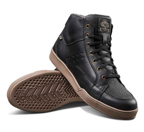 "ROLAND SANDS Motorcycle Sneaker - ""Fresno"" - wasserproof black/gum"