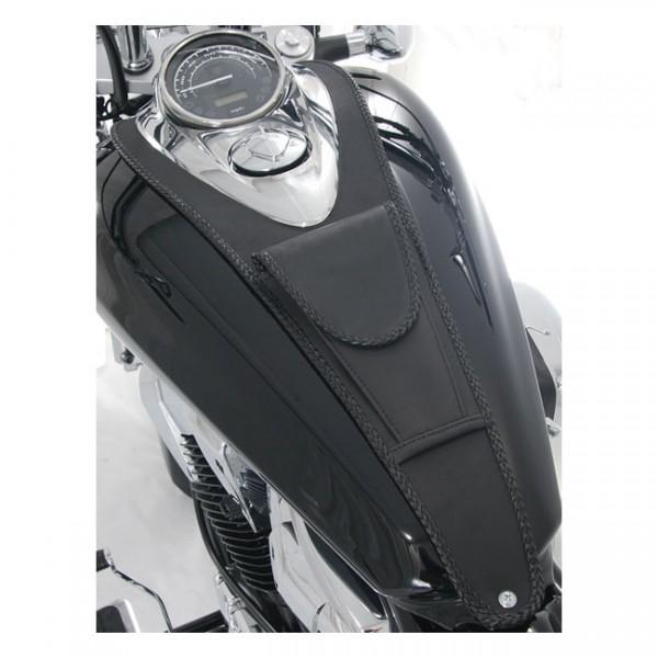 "MUSTANG Seat - ""Mustang pouch tank bib plain black"" - Honda 10-14 VT1300C Sabre, 10-16 VT1300C Stateline, 10-15 VT1300C Interstate"