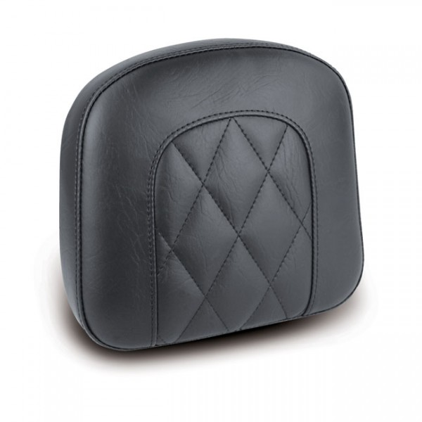 """MUSTANG Sitz - """"Mustang, OEM style sissy bar pad. Black. Diamond"""" - All H-D with stock/aftermarket s"""