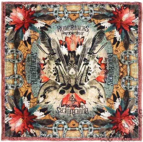 "RUDE RIDERS Tuch - ""Mex Skull Butterfly"" - 140 x 130 cm"