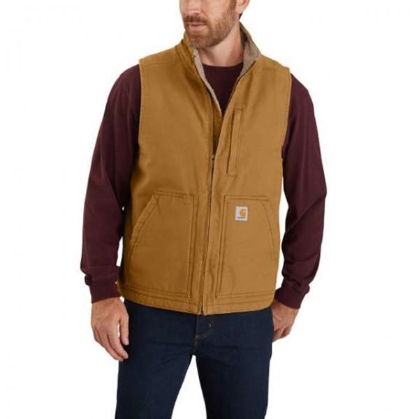 CARHARTT vest Washed Duck Sherpa Lined Mock Neck Vest in brown