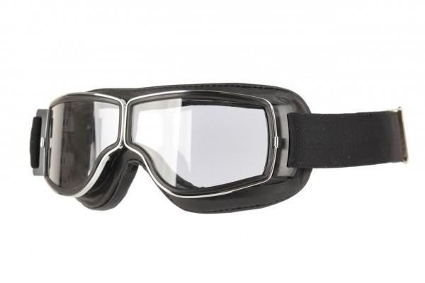 AVIATOR Motorradbrille T2 schwarz chrom transparent