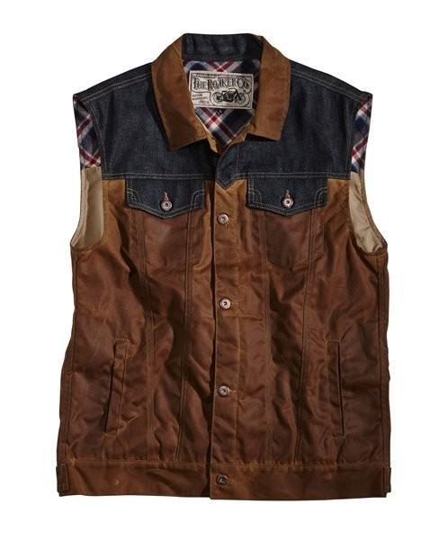 "ROKKER Weste - ""Wax Cotton Vest"" - braun & blau"
