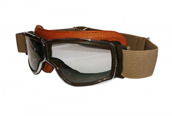 AVIATOR T2 Motorradbrille in camel chrom transparent