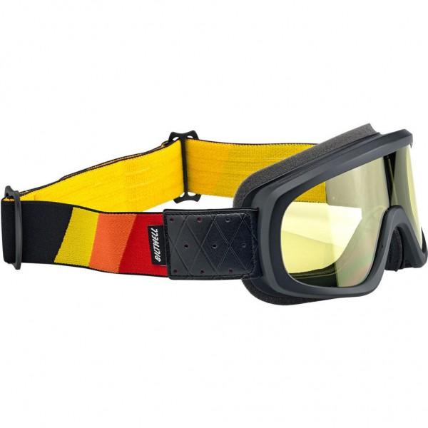"""BILTWELL Goggle - """"Overland 2.0 Tri-Stripe Black"""" - R/Y/O"""