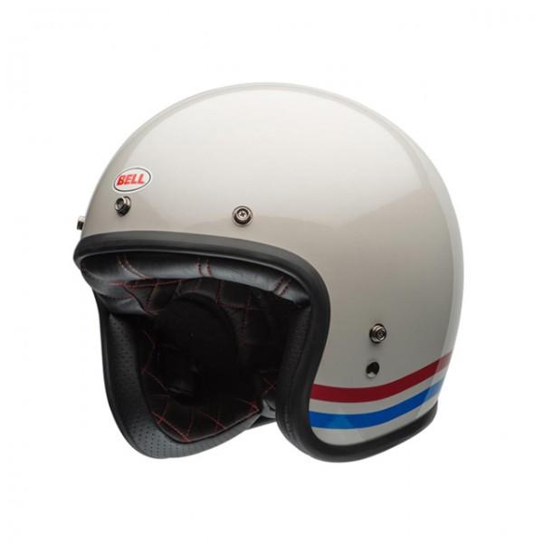 BELL Jethelm Custom 500 DLX Stripes Pearl White mit ECE