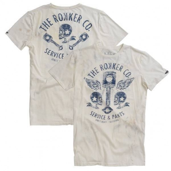 "ROKKER T-Shirt - ""Flying Pistons"" - weiss"