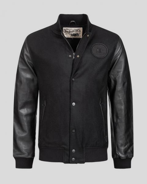 ROKKER College Jacke Wool schwarz