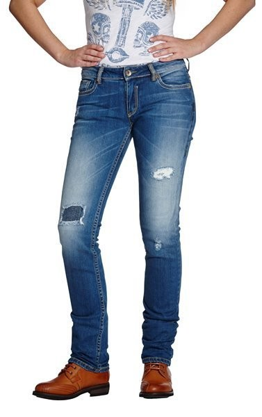 "ROKKER Damen Jeans - ""The Diva Distressed"" - blau"