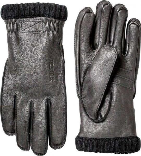 """HESTRA Gloves - """"Deerskin Primaloft Rib"""" - black - deerskin gloves warm"""