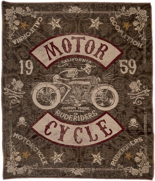 "RUDE RIDERS Blanket - ""Motorcycle"" - 150 x 190 cm"