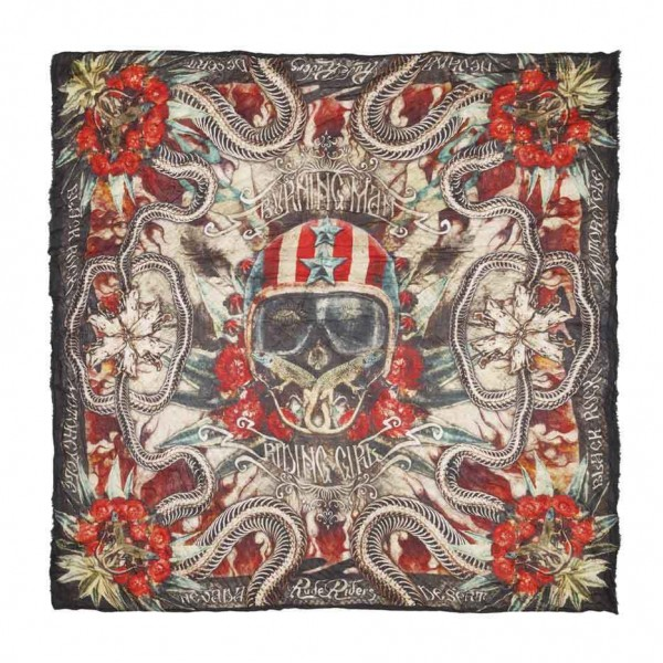 "RUDE RIDERS Scarf - ""Burning Head"" - 140 x 130 cm"