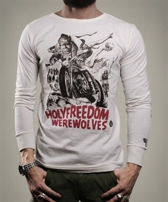 "HOLY FREEDOM Men's Longsleeve - ""Wolf White"" - white"