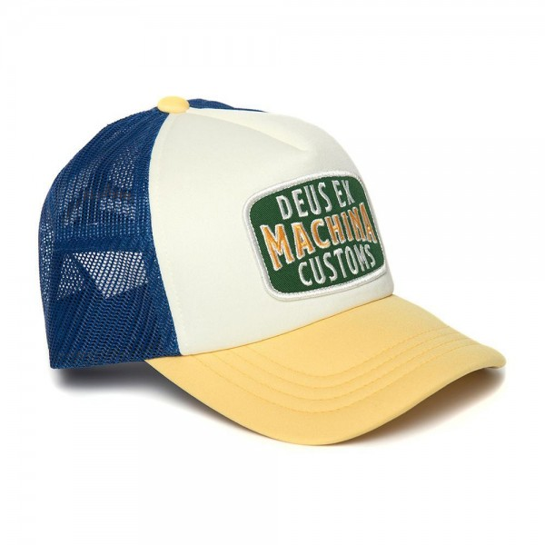 "DEUS EX MACHINA Hat - ""Title Trucker"" - yellow & blue"