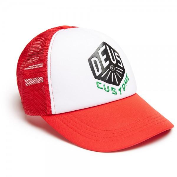 "DEUS EX MACHINA Cap - ""Skoot Trucker"" - rot & weiß"