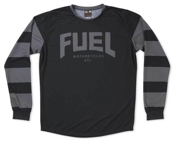 FUEL Moto Jersey Grey Stripes in Schwarz und Grau
