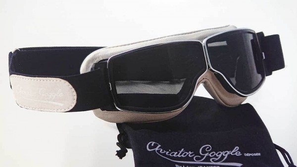 AVIATOR T2 Retro Goggles in beige chrome and clear
