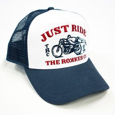 """ROKKER Hat - """"Just Ride Trukker"""" - white & blue"""