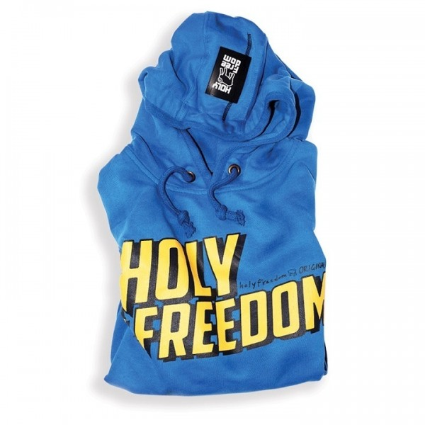 "HOLY FREEDOM Men's Hoodie - ""Wrecking"" - blue"