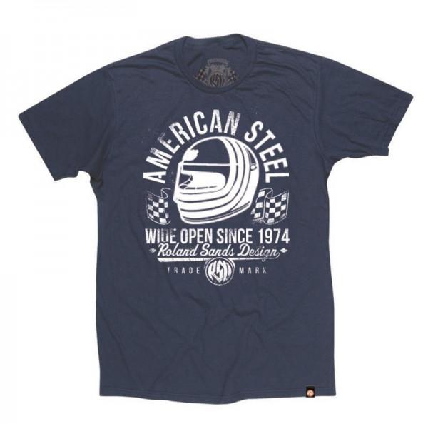 """ROLAND SANDS T-Shirt - """"American Steel"""" - navy-blau"""