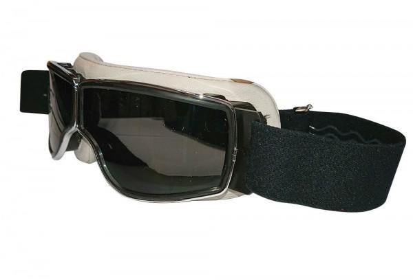 AVAITOR Motorradbrille T2 beige chrom dunkelgrau im Retrostil