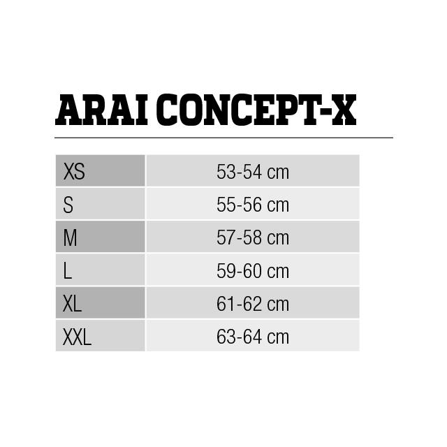 ARAI Concept-X size chart