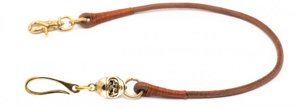 "SEVENTIES Lanyard with Keychain - ""Full Face Skull"" - brown"