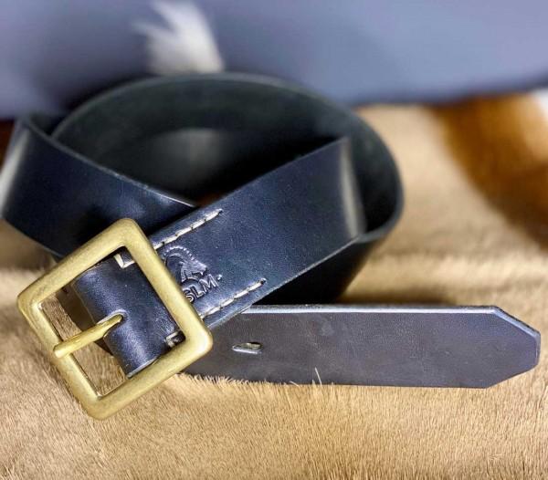SIR LEDER MICHEL Gürtel aus schwarzem Leder mit Messingschnalle