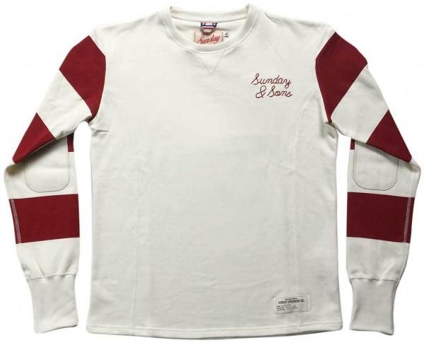 "SUNDAY SPEEDSHOP Sweatshirt - ""Sunday & Sons Motodrome"" - weiß & rot"