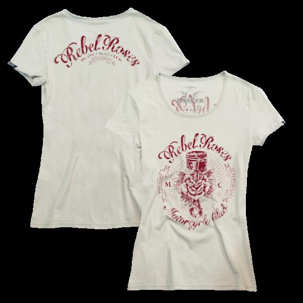 """ROKKER Damen T-Shirt - """"Rebel Roses"""" - weiss"""
