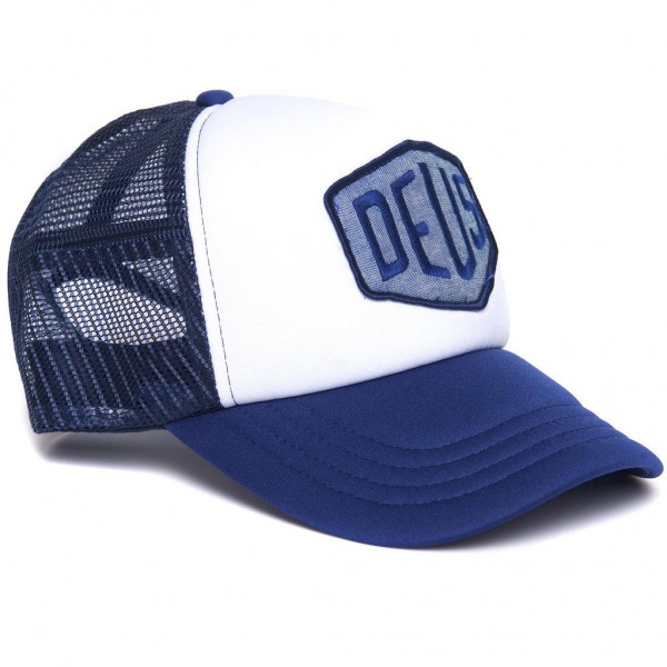 "DEUS EX MACHINA Cap - ""Chambray Shield Trucker"" - blau & weiß"