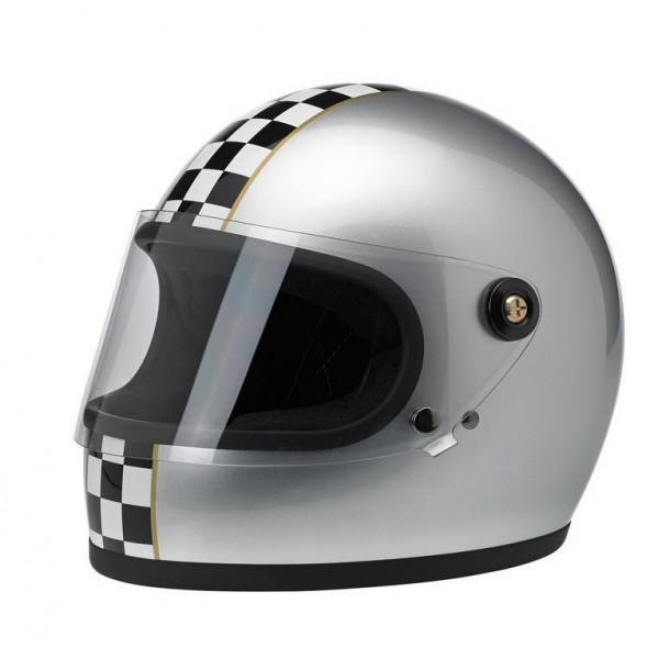 """BILTWELL - """"Gringo-S LE Checkered"""" - silver - with visor - DOT"""