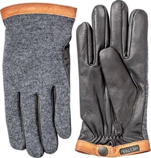 "HESTRA Handschuhe - ""Deerskin Wool Tricot"" - grau & schwarz"