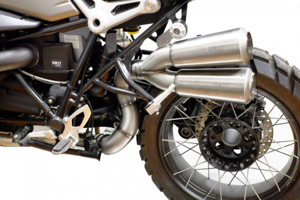 "UNITGARAGE - ""Double High Pipe nineT Scrambler with visible Welding"" for BMW - titanium"