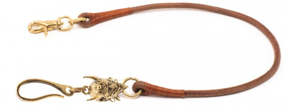 "SEVENTIES Lanyard with Keychain - ""Japan Demon"" - brown"