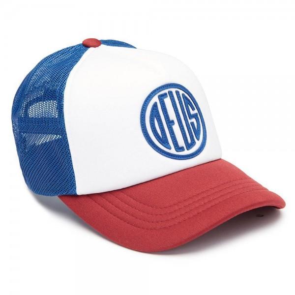 DEUS EX MACHINA Hat Pill Trucker blue and red