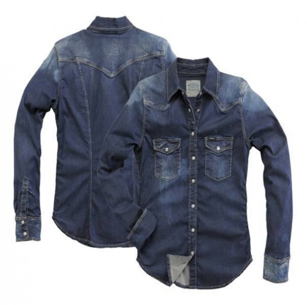 "ROKKER Damen Jeanshemd - ""Denim Shirt Blue"" - blau stonewashed"