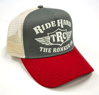 Rokker Hat Ride Hard Trukker grey, red and beige