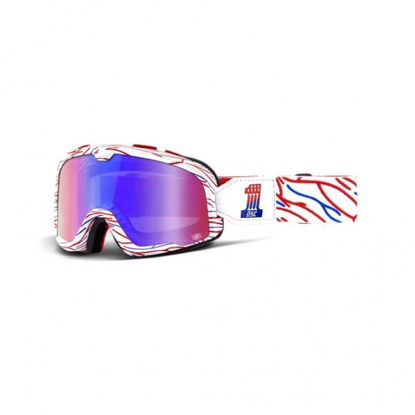 "100% BARSTOW vintage motocross goggles - ""Death Spray Custom Red & Blue"""