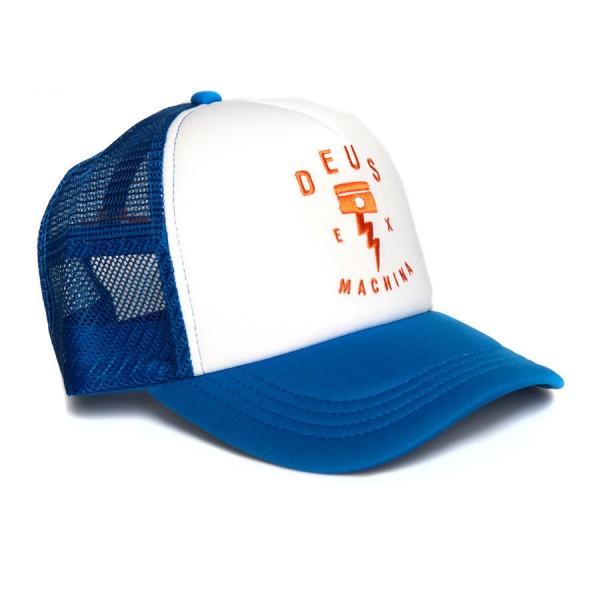 "DEUS EX MACHINA Cap - ""Piston Rock Trucker"" - blau & weiß"