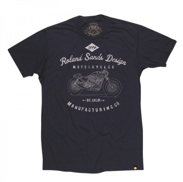 "ROLAND SANDS T-Shirt - ""MFG"" - navy-blue"