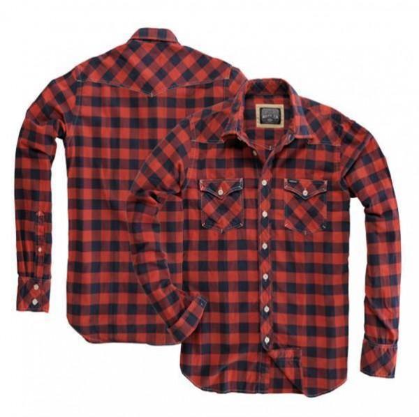 """ROKKER Herrenhemd - """"Texas Red Caro Vintage"""" - rot kariert"""