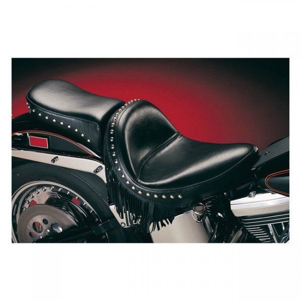 """LEPERA Seat - """"LePera, Monterey solo seat. Smooth with fringes. Gel"""" - 84-99 Softail (NU)"""